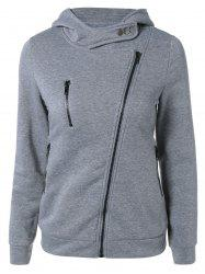 Inclined Zipper Buttoned Hoodie