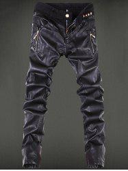 Zippered Rivet Embellished Leather Patchwork Pants - BLACK 36