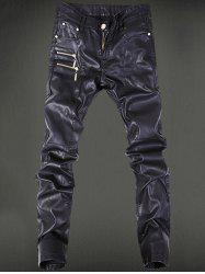 Five-Pocket Zippered Faux Leather Pants