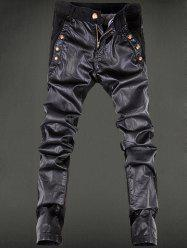 Rivet Embellished Zipper Fly Faux Leather Pencil Pants