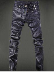 Pocket Rivet Zippered Narrow Feet Faux Leather Pants