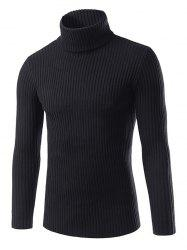 Turtle Neck Slimming Vertical Stripe Long Sleeve Sweater - BLACK