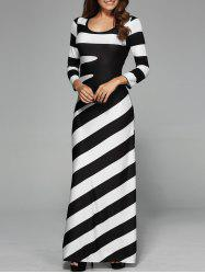 Maxi Striped Cocktail Party Dress with Sleeves - WHITE AND BLACK S