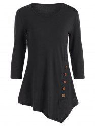 Pure Color Button Asymmetric Blouse - BLACK