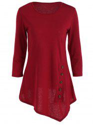 Pure Color Button Asymmetric Blouse - WINE RED