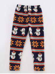 Snowman Printed Striped Leggings