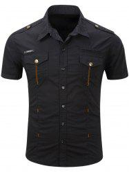 Fashionable Turn-Down Collar Pocket Design Cargo Shirt For Men