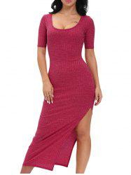 Scoop Neck Side Slit Maxi Dress
