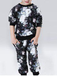 All-Over Floral Printed Sweatshirt + Pants Twinset -