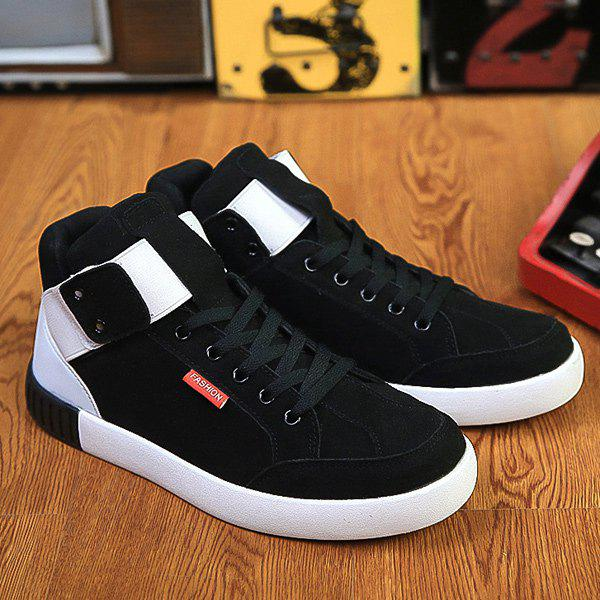 Cheap Lace Up Colour Block Elastic Band Casual Shoes