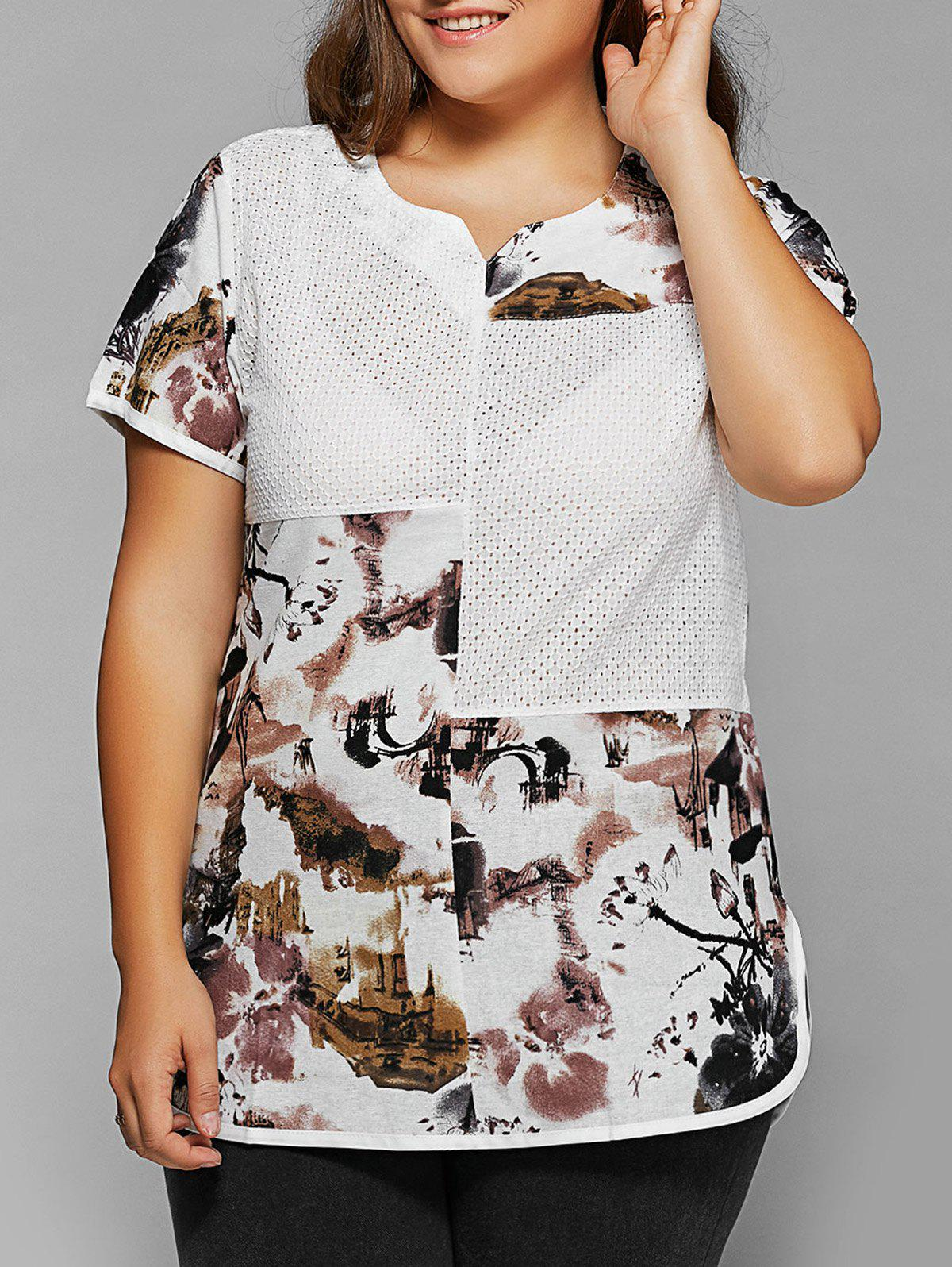 Outfits Plus Size Ink Painting Print Spliced Asymmetrical T-Shirt