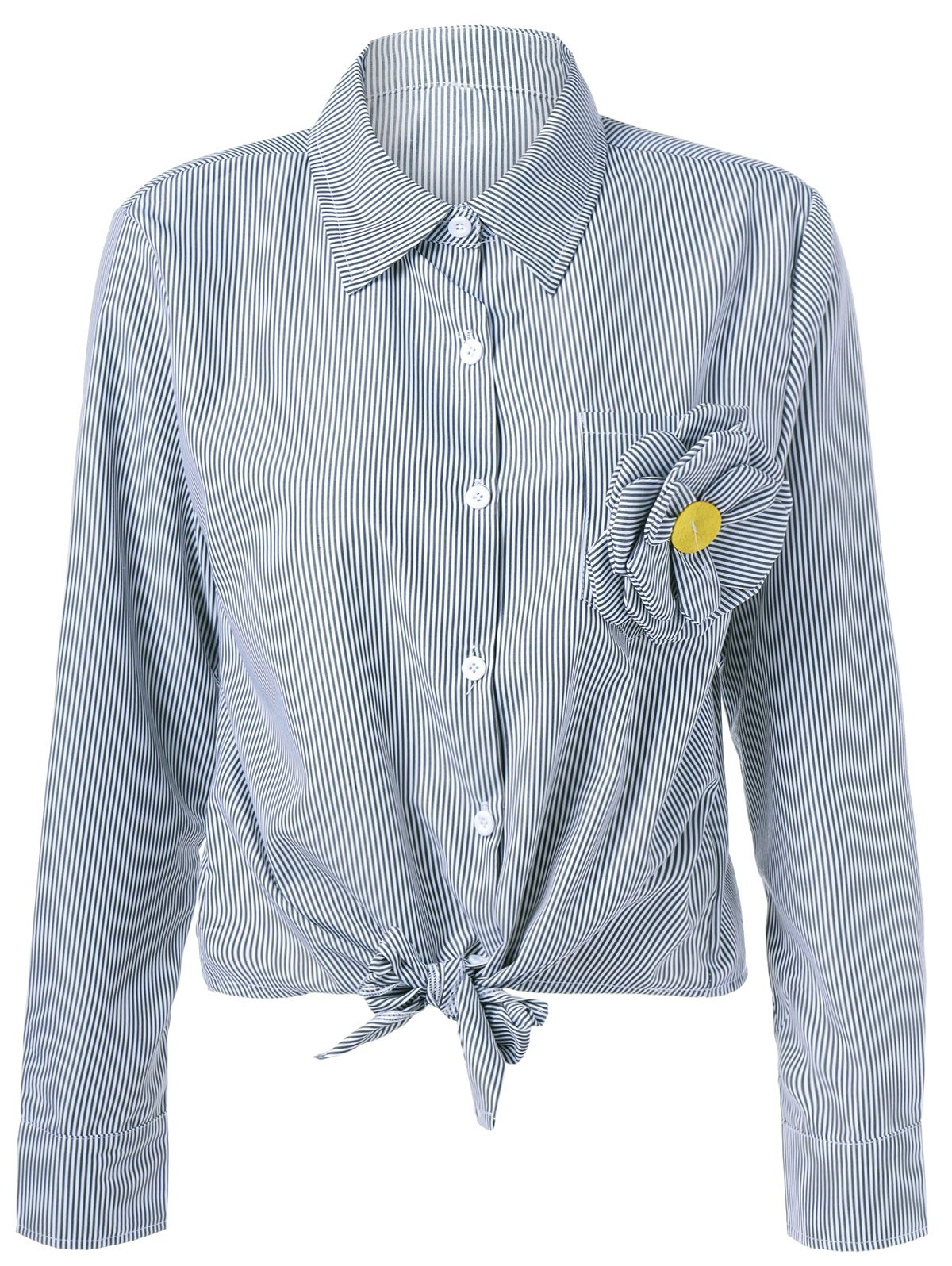 Trendy Appliques Striped Tie Shirt