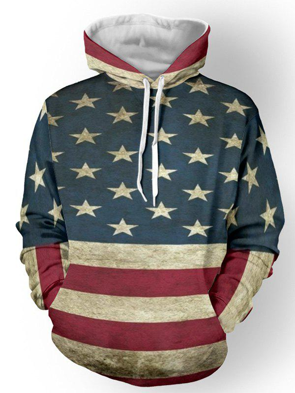 Distressed American Flag Pullover HoodieMEN<br><br>Size: M; Color: DEEP BLUE; Material: Cotton Blends; Shirt Length: Regular; Sleeve Length: Full; Style: Fashion; Weight: 0.5520kg; Package Contents: 1 x Hoodie;