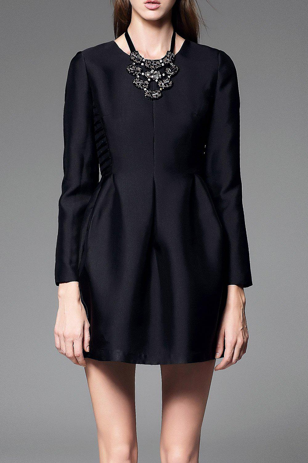 Fancy Long Sleeve Mini Tulip Dress