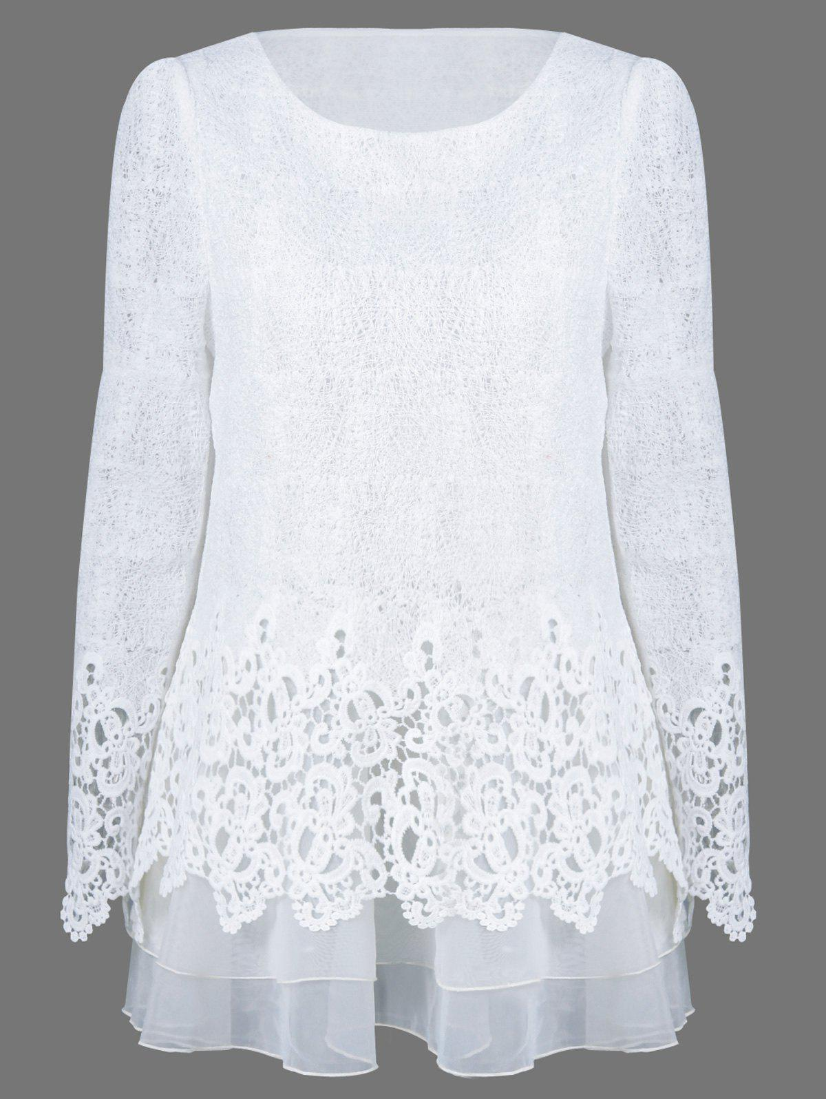 White L Mesh Patchwork Layered Lace Tunic Blouse Rosegal Com