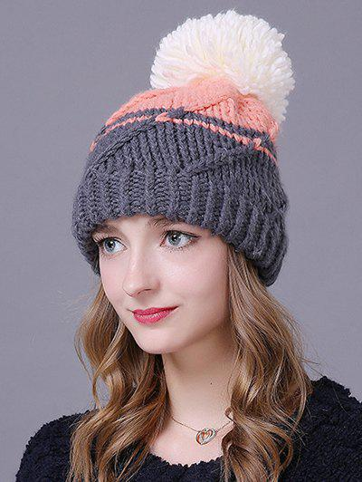 Outfit Warm Big Ball Stripy Knitted Faux Wool Hat 85263b42dc9