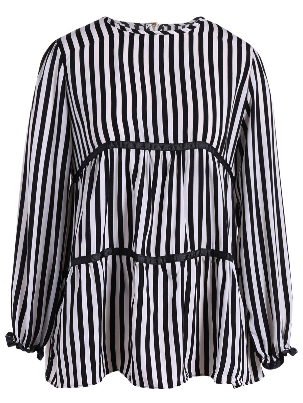Outfits Plus Size Long Sleeve Striped Blouse