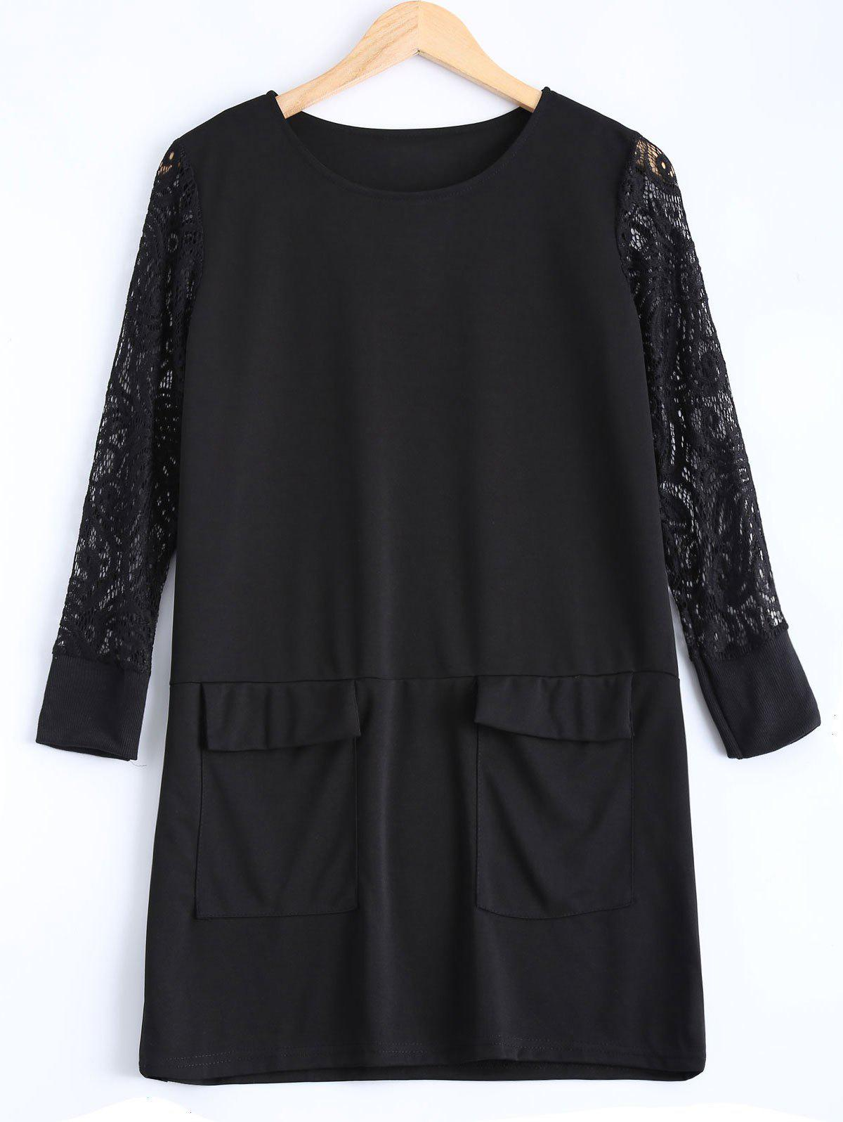 Hot Plus Size Lace Patched Dress
