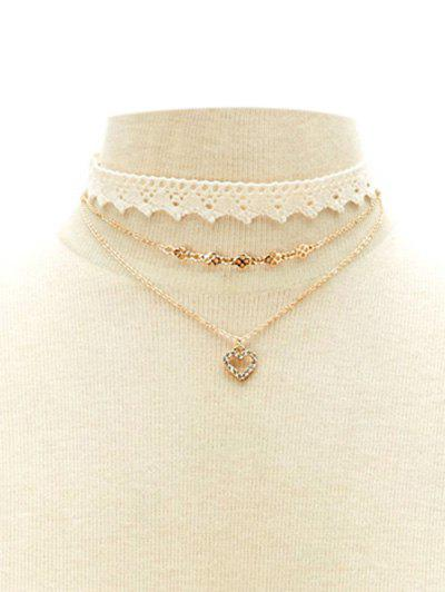 Trendy Faux Lace Rhinestone Heart Choker Set