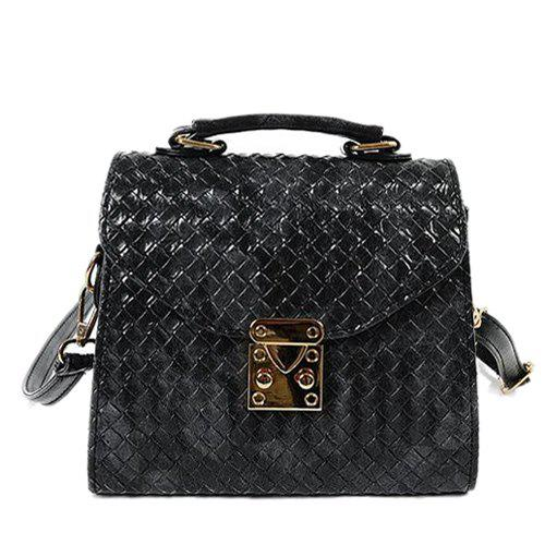 Cheap Metal Weave Pattern PU Leather Shoulder Bag