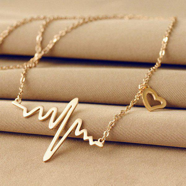 Name Heartbeat Pendant Necklace110JEWELRY<br><br>Color: CHAMPAGNE GOLD; Item Type: Pendant Necklace; Gender: For Women; Necklace Type: Link Chain; Metal Type: Alloy; Style: Romantic; Shape/Pattern: Geometric; Weight: 0.020kg; Package Contents: 1 x Necklace;