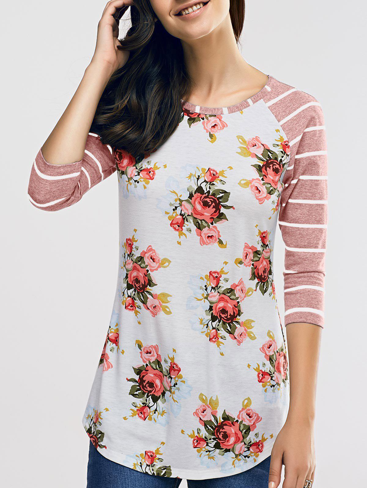 Shops Raglan Sleeve Casual Floral and Striped T-Shirt