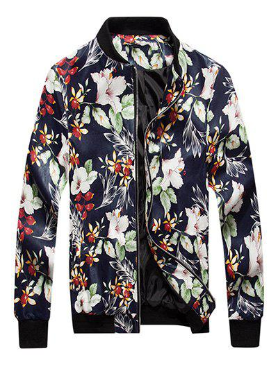 Jacket en Cuir PU d'Impression Florale avec Zip Cadetblue XL