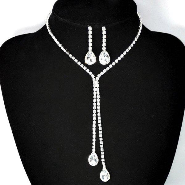 Teardrop Rhinestone Bolo Necklace SetJEWELRY<br><br>Color: WHITE GOLDEN; Item Type: Pendant Necklace; Gender: For Women; Material: Rhinestone; Metal Type: Alloy; Style: Romantic; Shape/Pattern: Water Drop; Weight: 0.030kg; Package Contents: 1 x Necklace 1 x Earrings(Pair);