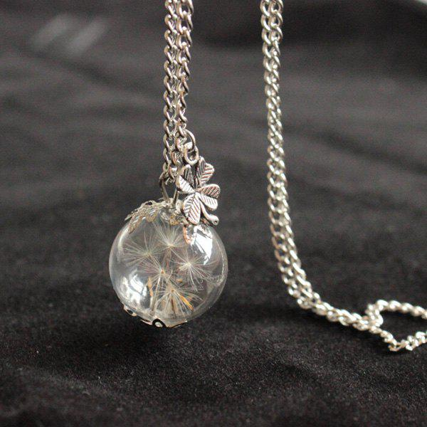 Glass Ball Dandelion Clover NecklaceJEWELRY<br><br>Color: SILVER; Item Type: Pendant Necklace; Gender: For Women; Necklace Type: Link Chain; Material: Glass; Metal Type: Silver Plated; Style: Classic; Shape/Pattern: Ball; Weight: 0.020kg; Package Contents: 1 x Necklace;