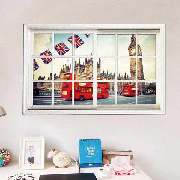 Removable 3D Stereo Britain Streetscape Window Design Wall StickersHOME<br><br>Color: WHITE; Wall Sticker Type: 3D Wall Stickers; Functions: Decorative Wall Stickers; Theme: Landscape; Material: PVC; Feature: Removable; Size(L*W)(CM): 50*70CM; Weight: 0.315kg; Package Contents: 1 x Wall Stickers;