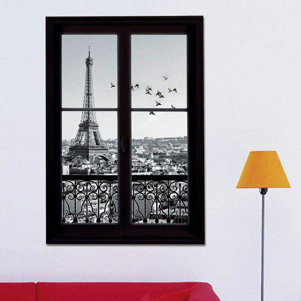 Removable 3D Stereo Eiffel Tower Upstair Window Design Wall StickersHOME<br><br>Color: BLACK; Wall Sticker Type: 3D Wall Stickers; Functions: Decorative Wall Stickers; Theme: Landscape; Material: PVC; Feature: Removable; Size(L*W)(CM): 50*70CM; Weight: 0.374kg; Package Contents: 1 x Wall Stickers;
