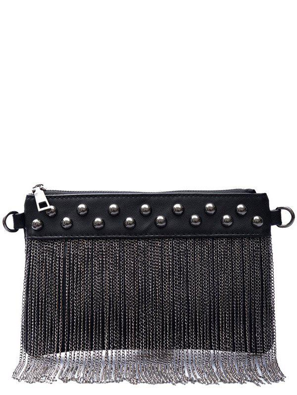 Affordable PU Leather Chains Fringe Clutch Bag