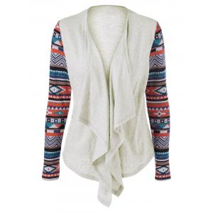 Geometric Pattern Irregular Front Fly Cardigan - Off-white - M