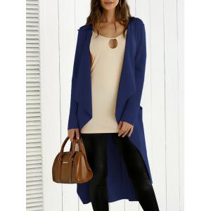 Tie Back Asymmetrical Trench Coat - Deep Blue - S