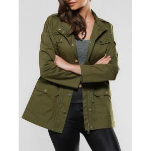 Flap Pockets Drawstring Utility Jacket