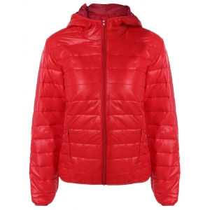 Topstitching Hooded Quilted Winter Jacket - Red - S