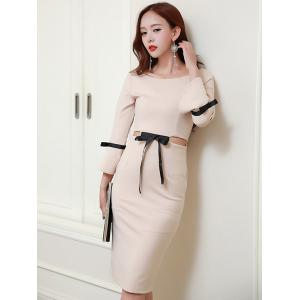 Long Sleeve Knee Length Pencil Dress