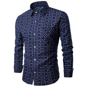 Turn-down Collar Button Up Grid Print Shirt