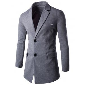 Contrast Trimmed Breast Pocket Notch Lapel Coat