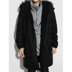 Drawstring Elastic Cuffs Fur Hooded Sherpa Coat - Black - Xl