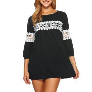 Lace Insert Loose-Fitting Mini Dress