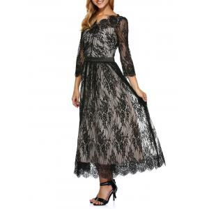 Lace Scalloped Long Evening Dress with Sleeves - Black - S