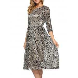Rhinestone Embroidery Lace Dress