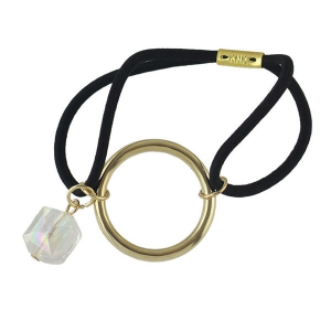 Faux Gem Circle Elastic Hair Band - Black