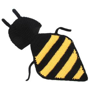 Hand Crochet Knitting Bee Shape DIY Baby Hooded Blanket