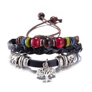 Faux Leather Life Tree Charm Bracelet - Black