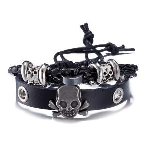 Faux Leather Woven Skull Infinity Bracelet