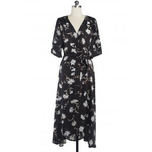 Floral Chiffon Surplice Maxi Summer Dress