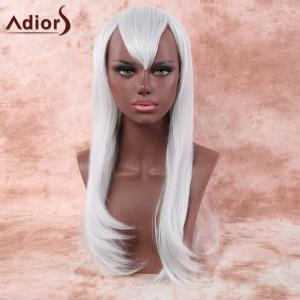 Faddish Long Layered Tail Adduction Side Bang Cosplay Synthetic Wig - Silver White