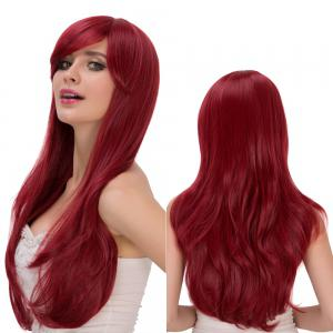 Shaggy Long Wavy Tail Adduction Oblique Bang Lolita Wig - Wine Red - 14inch